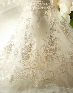 Stunning Charming Mesh Floral Bridal Lace Fabric Evening Dress Fabric Gold Champagne L eBay
