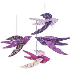 Swallows Origami Paper Bird Ornaments (4.5-Inch, Purple, Set of 4) ($3.80) ❤ liked on Polyvore featuring home, home decor, holiday decorations, cultural intrigue, purple home accessories, handmade home decor, purple home decor i handmade ornaments