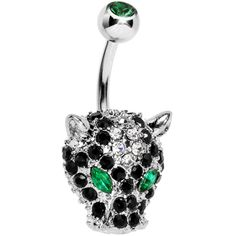 Green Black Gem Panther Head Belly Ring #bodycandy #panther #bellyring $10.99
