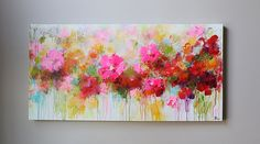 ( Thank you for looking! ! Check out my store for more Original Paintings here: http://www.etsy.com/shop/mimigojjang?ref=si_shop ****************************************************************************** Artwork description  Acrylic on canvas -TITLE:Abstract flower painting -SIZE:48x24 1,5d inch  -MEDIUM: ....Professional grade acrylics on 100% cotton canvas over  wooden stretcher bars.   The sides are white  -Signed and dated ON FRONT OR BACK OF CANVAS…