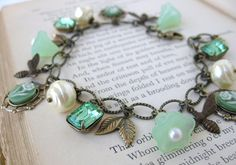 Green Bees Vintage Charm Bracelet Pearls Rhinestones Flowers in Antiqued Brass.