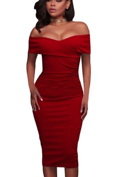 Get your bardot on in this figure-flattering dress - featuring a foldover wrap style, off-the shoulder style, sponge cups padded, concealed side zipper closure and a crisp hue in solid color. Women sexy off the shoulder slim fit bodycon cocktail party midi dress, perfect for any occasions, especially cocktail, party, club or casual. #offtheshoulder