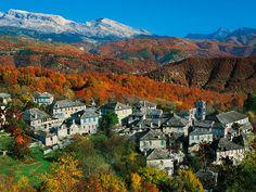 Zagori in autumn colours, Epirus, Greece Mount Rainier, Istanbul, Grand Canyon, Greece, Beautiful Places, River, Mountains, Country, Outdoor