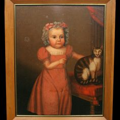 Folk Art Portrait of a Girl and Her Cat, ca. 1830