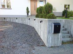 stödmur betong garageuppfarten