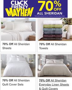 #greatdeal alert! 70% off rrp on all Sheridan products. #onsale until midnight tonight 18/5/16. #bedsheets #quiltcover #towels #cushions #bedlinen #sheets #betterthanhalfprice #clickfrenzy #qualityforless #savvyshopper #savvysaver #may16 #sheridan @sheridanaustralia