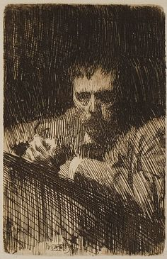 Anders Leonard Zorn 1889 Self-Portrait - etching Chicago AI by petrus.agricola, via Flickr