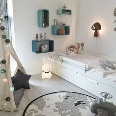 How cute is this little boy's room! The beautiful home of @ingerliselille Miffy lamp available in our online store. . #kidsroom #kidsroomdecor #nordichome #nordicinspiration