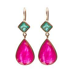 Jade Jagger Ruby & Emerald Gold Drop Earrings | From a unique collection of vintage drop earrings at http://www.1stdibs.com/jewelry/earrings/drop-earrings/