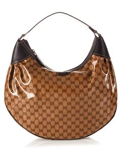 90cb3b41f4aa Gucci Crystal Beige GG Guccissima print Canvas Brown Leather Classic Hobo  Bag