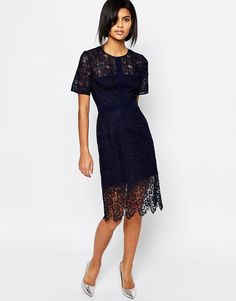 Shop Whistles Ailsa Placement Lace Dress in Navy at ASOS. Latest Fashion Clothes, Latest Fashion Trends, Fashion Online, Whistles Dresses, Lace Dress, Dress Up, Costume, Asos Online Shopping, Nice Dresses