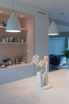 Kjøkkenet vårt – Villafunkis.no Decoration, Buffet, Ceiling Lights, Lighting, Kitchen, Home Decor, Modern, Decor, Cooking