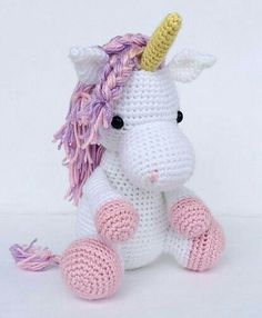 A Sweet Crocheted Unicorn . in custom colors - Ideen A Sweet Crocheted Unicorn . in custom colors Beautiful unicorn by Jenna at YouHadMeAtCrochet. Used horse pattern by Little Muggles (changed colors and added a horn! Crochet Diy, Crochet Horse, Crochet Amigurumi, Amigurumi Patterns, Amigurumi Doll, Crochet Crafts, Crochet Dolls, Crochet Projects, Knitting Patterns