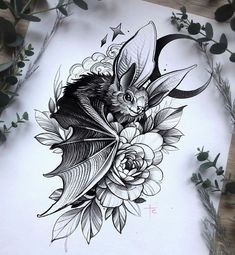 Tatoo Art, Body Art Tattoos, Sleeve Tattoos, Bat Tattoos, Tattoo Design Drawings, Tattoo Sketches, Tattoo Designs, Witch Tattoo, Raven Tattoo