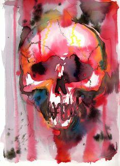 watercolour skull