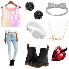 Untitled #24 by madalinacorina on Polyvore featuring polyvore fashion style Charlotte Russe Dr. Martens Minnie Grace Urbanears