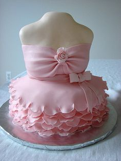 pink wedding dress wedding cake.isn't it lovely?