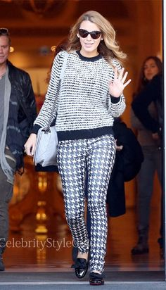 Seen on Celebrity Style Guide: Blake Lively looked like the very picture of celebrity beauty in a Isabel Marant Etoile Canelia stripe sweater when she stepped out in Paris October 30 2013