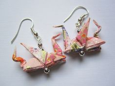 Dragon Origami Earrings (Japanese Chiyogami Paper) http://www.arsorigami.com/