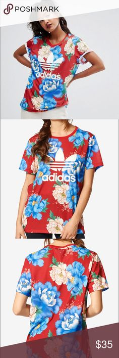 Adidas Originals floral shirt This shirt is a trendy must have. Boyfriend style with a looser fit. Polyester, jersey like fabric. Excellent condition. Worn once. Practically brand new! adidas Tops Tees - Short Sleeve