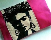 frida kahlo clutch - cool stencil idea (I've been in a Frida mood lately...)