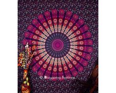 Purple luxury round mandala twin tapestry wall hanging, Hippie bedding throw dorm bohemian wall tapestry for home decor.