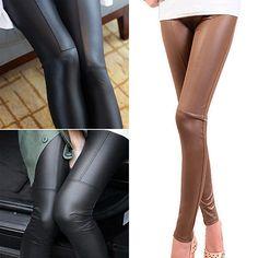 Hot Women Stretch Leggings Skinny Pants Slim Fit Trousers Faux Leather Jeggings 6Q8K 7G7X #Affiliate