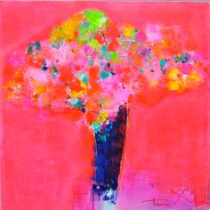 Painting Abstract, Botanical, Colorful, Pink, Neon Pink - Red In Red - Tove Andresen - GALLERY ARTUNIKA - CONTEMPORARY ONLINE FINE ART