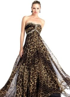 leopard print wedding dress -- MINE IS BETTER. :) This just looks like cocktail attire. Leopard Print Wedding, Animal Print Wedding, Evening Dresses, Prom Dresses, Bridesmaid Dresses, Formal Dresses, Wedding Dresses, Animal Print Fashion, Animal Print Dresses
