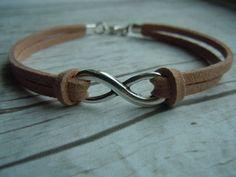 Infinity Bracelet Beige Faux Suede - Eternity - Love Symbol  - Friendship - Infinity Jewelry