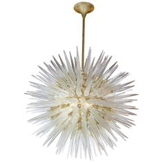 Spectacular Midcentury Sputnik Chandelier with Handblown Murano Glass Spikes | From a unique collection of antique and modern chandeliers and pendants  at https://www.1stdibs.com/furniture/lighting/chandeliers-pendant-lights/