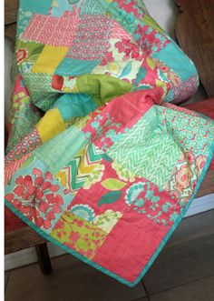 Quilted Throw Spring House by Moda Stephanie Ryan Floral, Chevron,Teal, Raspberry, Chartreuse, Golden Rod, Yellow