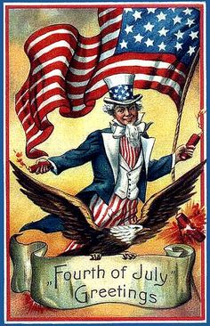 Uncle Sam, the Flag,  and the Bald Eagle for Independence Day -- Vintage Poster showing Fourth of July Greetings