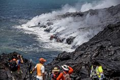 Rangers, geologists urge safety at lava flow; 8 acres of new land created in past three weeks Hawaii Volcanoes National Park, Volcano National Park, National Parks, Lava Flow, Big Island, Hawaii Travel, Acre, Ranger, Past