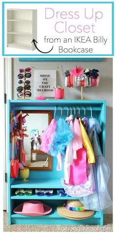 IKEA Hack / This DIY Dress Up Closet was made from an IKEA Billy Bookcase. She even added on DIY animal jewelry holders! costume storage for kids Dress Up Closet: Easy DIY Dress Up Storage from a Bookcase Ikea Billy Bookcase Hack, Billy Bookcases, Bookcase Closet, Dress Up Stations, Ikea Toy Storage, Playroom Storage, Book Storage, Record Storage, Storage Mirror