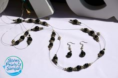 Black as Night Necklace & Earring Set via Etsy
