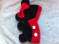 Crochet Mickey and Minnie hats for boy/girl twins.