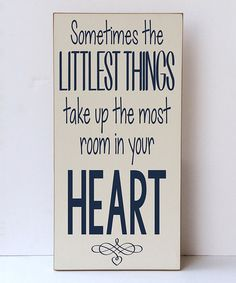 Loving this Cream & Navy 'Littlest Things Heart' Wall Sign on #zulily! #zulilyfinds