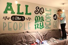 The artist decided to choose lyrics from three well-known Britpop songs and use playful, bespoke lettering to bring them to life.
