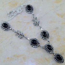 "FREE SHIPPING BLACK ONYX NECKLACE 19 3/4""; J69526"
