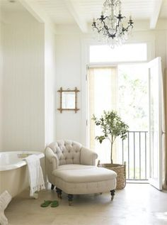 love chairs and chaise lounges in bathrooms