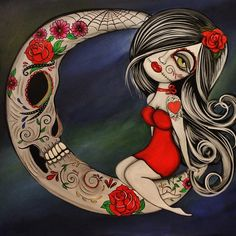 """Forever in my Heart"" by Lizzy Falcon day of the dead, dia de Los muertos, sugar skull art."