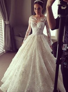Beautiful Lace Wedding Dress,Illusion Long Sleeves Wedding Dress,Ball