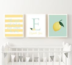Lemon Citrus Nursery Art Print Set Personalized The Sweet | Etsy Bee Nursery, Nursery Art, Baby Monogram, Lemon Print, Printable Art, Baby Shower Gifts, Gallery Wall, Wall Decor, Art Prints