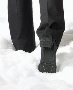 ICE TREADS - FOR LADIES  Walk safely on ice and snow. Heavy-duty rubber treads have sure-grip stainless-steel cleats that steady footing no matter how slippery the surface. Simply slip over shoes or boots- they stretch to fit entire foot; fold to carry in purse. Pair.  $9.98