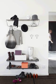 Hat Rack Hattehylde L - Maze @ Ikea Bedroom Storage, Hallway Storage, Hallway Inspiration, Interior Inspiration, Small Hallways, Hallway Decorating, Clean Design, Maze, Interior Styling