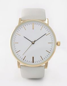 Image 1 ofASOS Clean Leather Strap Watch