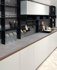 26 minimalist kitchen design ideas with marble combinations 1 Kitchen Room Design, Kitchen Dinning, Kitchen Sets, Modern Kitchen Design, Living Room Kitchen, Home Decor Kitchen, Interior Design Kitchen, Home Design, Kitchen Furniture