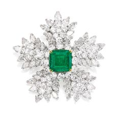 A Platinum, Emerald and Diamond Brooch, Van Cleef & Arpels, New York, Circa 1965