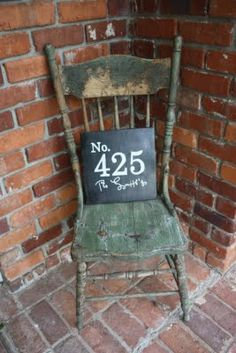 house numbers  (or how about a long, tall one standing on the chair or in the corner alone)